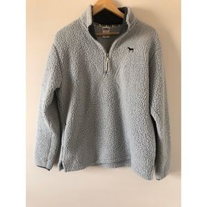 👚Victoria's Secret Grey Sherpa Quarter Zip